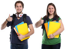 Students thumbs up young woman man portrait smiling people isola. Students thumbs up young women men portrait smiling people isolated on a white background Royalty Free Stock Image
