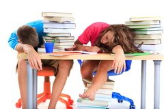 Students tired from studying Stock Image