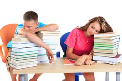 Students tired after studying Stock Photography