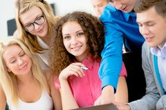 Students together to discuss lecture Royalty Free Stock Photo
