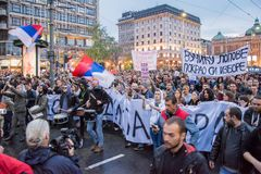 Students took to the streets to protest against Serbian government Stock Photo