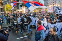 Students took to the streets to protest against Serbian government Stock Images