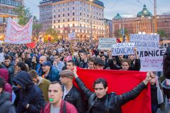 Students took to the streets to protest against Serbian government Royalty Free Stock Image