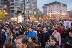 Students took to the streets to protest against Serbian government Stock Image