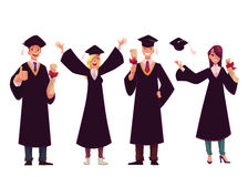 Students in traditional caps and gowns celebrating successful graduation Stock Photography