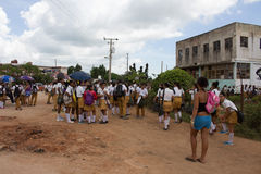 Students in Trinidad (Cuba). Students out of their school in Trindad (Cuba Stock Photography