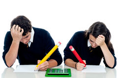 Students trying to recollect the answer Stock Photography
