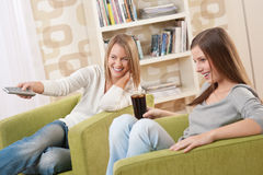 Students - Two female student relaxing home Royalty Free Stock Photography