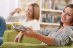 Students - Two female teenager watching television Stock Photography