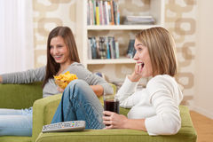 Students - Two female teenager watching television Royalty Free Stock Image