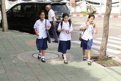 Students in uniform in Asia. In most Asian countries, schoolchildren and students wear uniforms to go to school. it is a way of not affirming their social royalty free stock photography