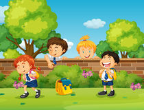 Students in uniform skipping school Stock Photos