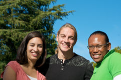 Students on University Campus. Diverse ethnic Students on university campus. A photo of African American, Hispanic and Caucasian students Royalty Free Stock Image