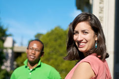 Students on University campus. Diverse ethnic Students on university campus. A photo  of African American and Hispanic students Royalty Free Stock Images