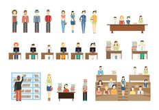 Students at University. Girls and boys. In classroom, at school desk. Vector eps10 illustration Royalty Free Stock Photography