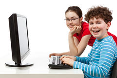 Students using computer Royalty Free Stock Image