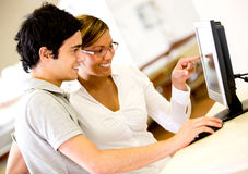 Students using a computer Stock Photos