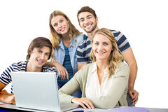 Students using laptop in classroom Royalty Free Stock Photos