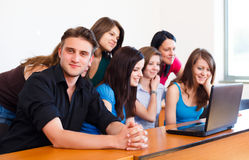 Students Using Laptop Royalty Free Stock Photo