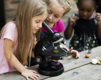 Students are using microscope for education Royalty Free Stock Photography