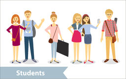 Students. Vector characters in cartoon style Royalty Free Stock Photo