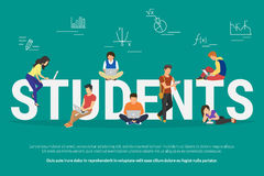 Students vector illustration of young people usinggadgets for e-learning, distance studying and online education Royalty Free Stock Photo