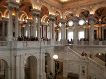 Students visiting the Library of Congress. Students in awe admiring the Library of Congress in Washington DC. The Library of Congress is de facto national Royalty Free Stock Photos