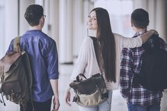 Students Walk in Hall. Studying at College. Happy Young People. Friendship Concept. Communication festyle. Portrait of Young Teen Peoples. Union Group Selfie royalty free stock photos