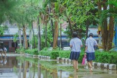 Students walk to the flood. After rain in school Royalty Free Stock Photography