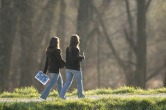 Students walking. Two students walking on the sunny day Royalty Free Stock Photography