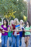 Students Walking. Five girls students walking by their high school carrying their books and talking. Vertically framed photo Stock Image