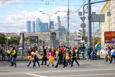 Students walking with baloons, Moscow city Stock Images