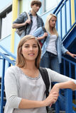 Students walking down steps Royalty Free Stock Image