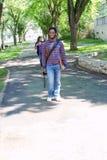 Students walking to next class. University students walking to next class royalty free stock photos