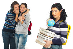 Students whisper and tells secrets Royalty Free Stock Image