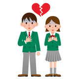 Students who have a broken heart. Vector illustration.Original paintings and drawing Stock Image