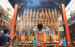 Students who offered incense Buddhist ceremony for peace Royalty Free Stock Photography