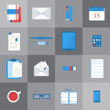 Students work table icons. Set of different student or business work table icons. eps10 Stock Images