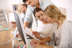 Students working in business training. Group of students in business school Royalty Free Stock Image