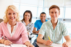 Students working in classroom stock photography