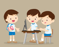 Students working with computer. Cute boys talk and playing computer Royalty Free Stock Images