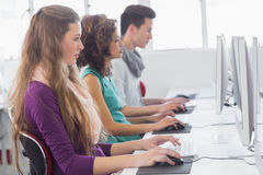 Students working in computer room. At the college Stock Image