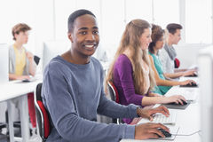 Students working in computer room. At the college Royalty Free Stock Image