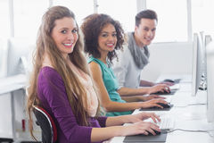 Students working in computer room Stock Photos