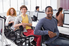 Students working in computer room. At the college Stock Images