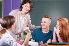 Students working in group on lesson Stock Photos