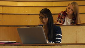 Students working in a lecture hall. In the university college stock video footage
