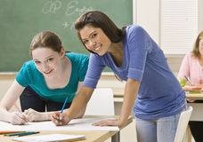 Students working on project in classroom Royalty Free Stock Photos