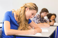 Students writing notes in classroom. Side view of students writing notes in classroom Royalty Free Stock Photography