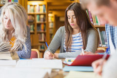 Students writing notes at library desk Stock Photography